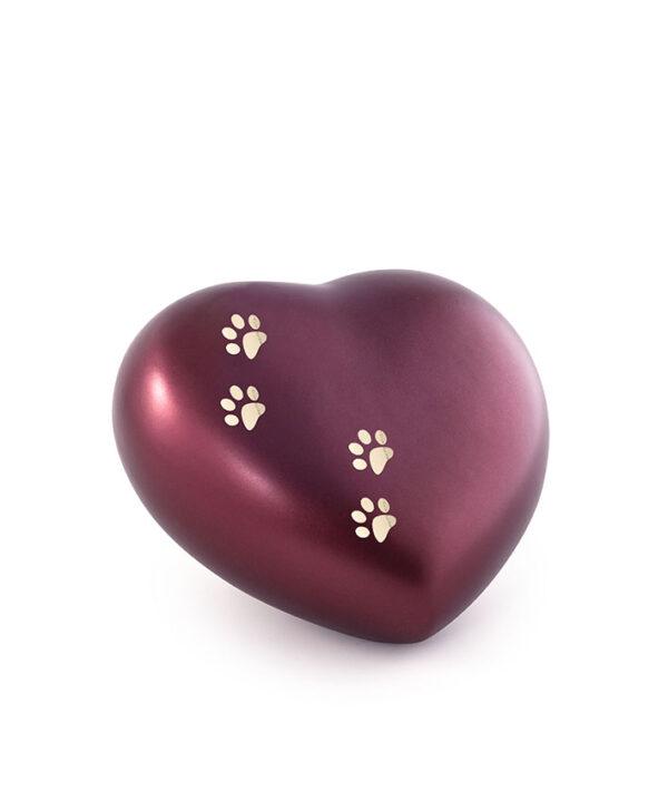 Tierurne Herzform Keramik weinrot