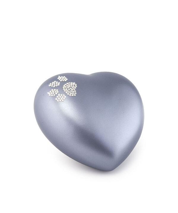 Tierurne Herzform Keramik stahlgrau