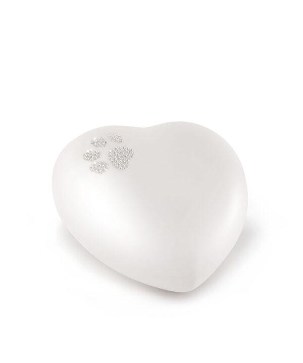 Tierurne Herzform Keramik perlmutt