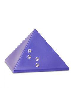 Keramikurne Pyramide mit Goldpfötchen violett