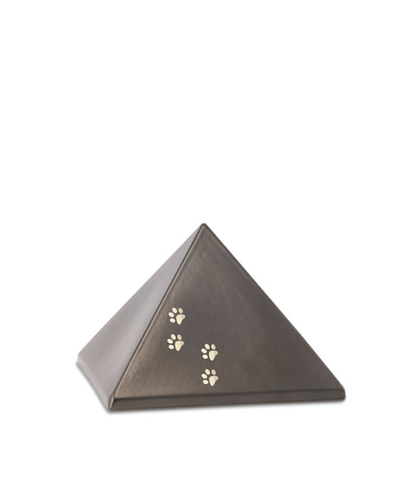 Keramikurne-Pyramide mit Goldpfötchen chocolat