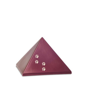 Keramikurne Pyramide mit Goldpfötchen weinrot