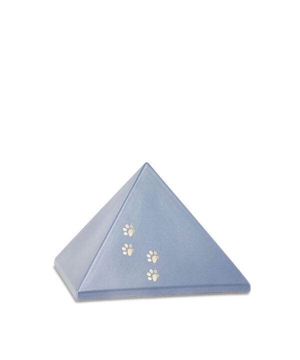 Keramikurne Pyramide mit Goldpfötchen eisgrau