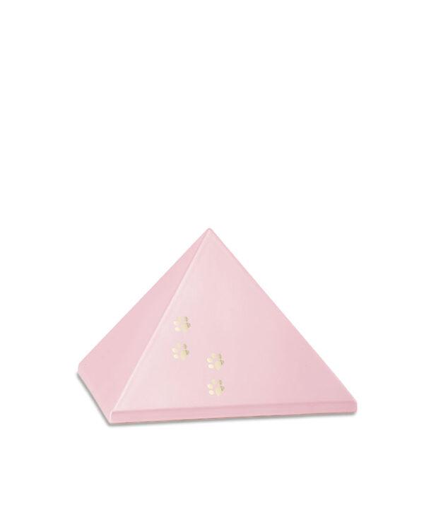 Keramikurne Pyramide mit Goldpfötchen rosè