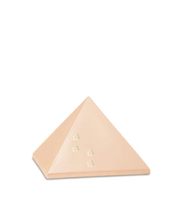 Keramikurne Pyramide mit Goldpfötchen apricot