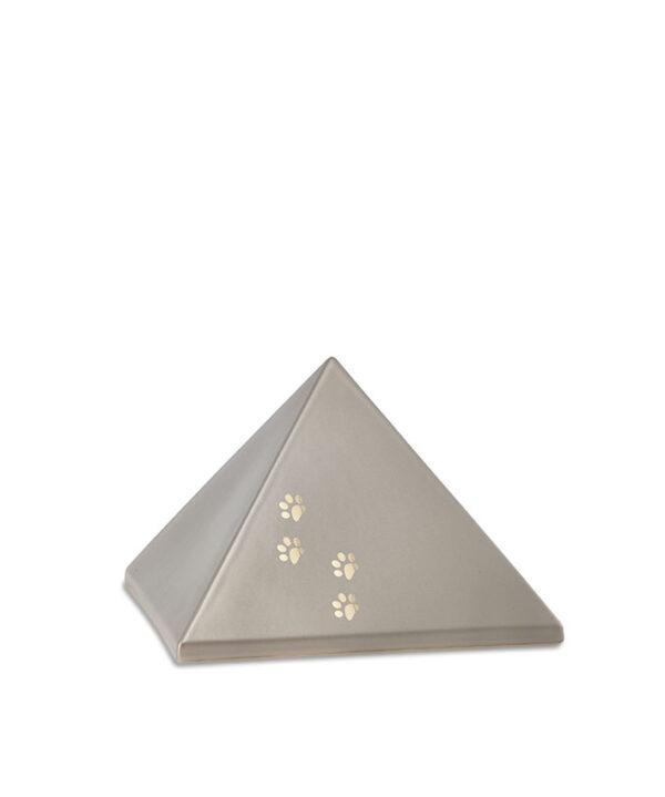 Keramikurne Pyramide mit Goldpfötchen fumè
