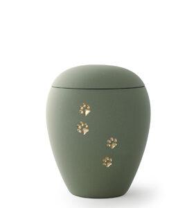 Keramikurne- Edition Siena mit Goldpfötchenmotiv oliv