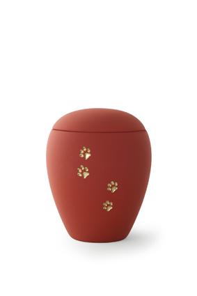 Keramikurne - Edition Sienna Goldpfötchenmotiv rubin