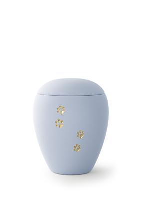 Keramikurne - Edition Siena Goldpfötchenmotiv himmelblau