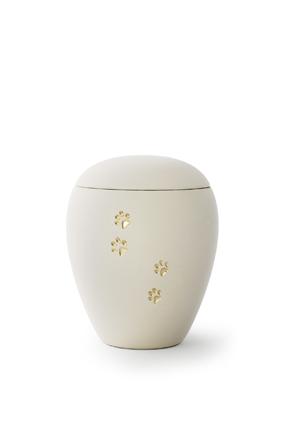 Keramikurne - Edition Siena Goldpfötchenmotiv creme