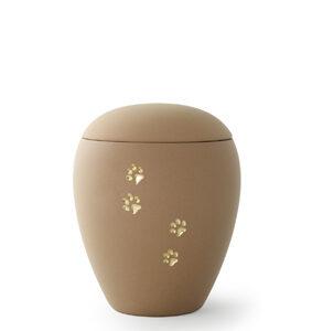Keramikurne - Edition Siena Goldpfötchenmotiv sand