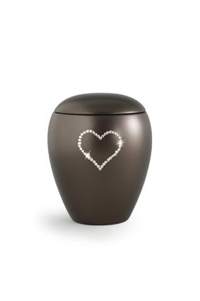 Keramikurne Edition Crystal Herz chocolat