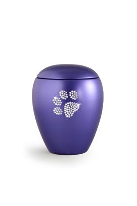 Keramikurne Edition Crystal Pfötchen violett