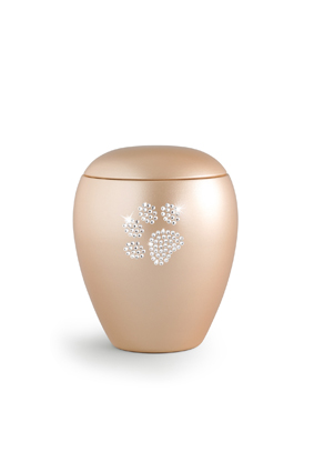 Keramikurne Edition Crystal Pfötchen apricot