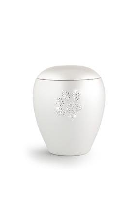 Keramikurne Edition Crystal Pfötchen weiß